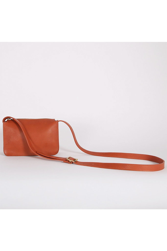 Kate Sheridan Alpha Leather Bag in Mattone Brown