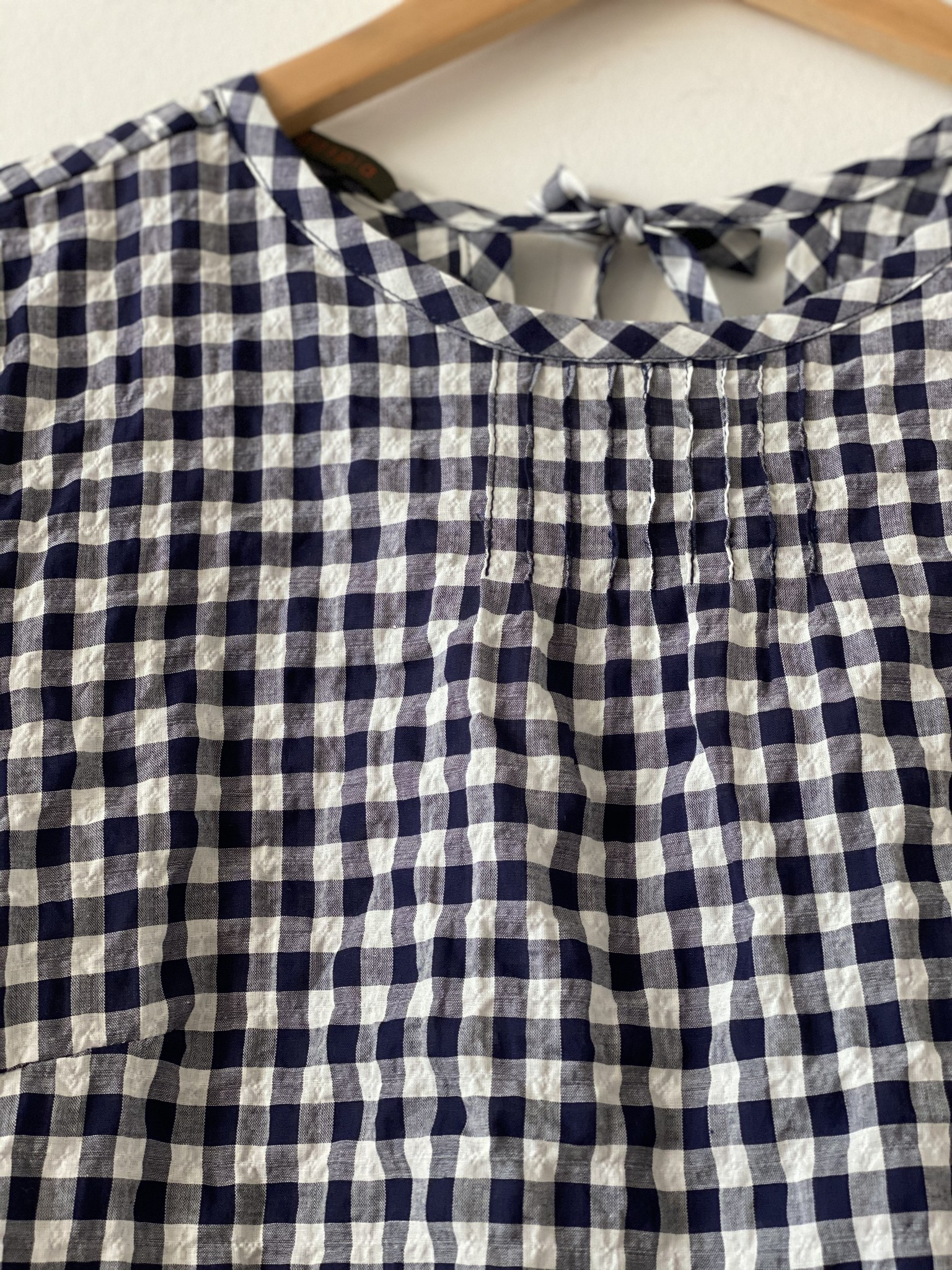 Modaspia Pintuck Blouse in White & Navy Gingham