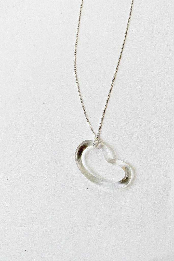 Jane D'Arensbourg Glass Bean Pendant on Silver Chain