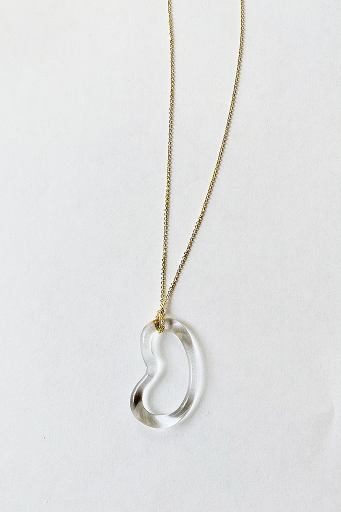 Jane D'Arensbourg Glass Bean Pendant on Gold Plated Chain