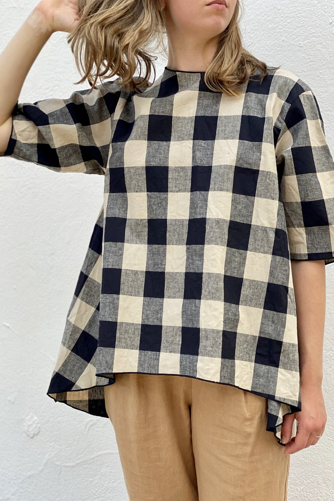 Mizuiro Mizuiro Buffalo Beige & Black Check Top