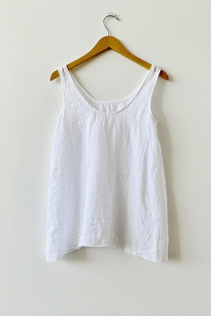 CP Shades Sia White Linen Tank Top