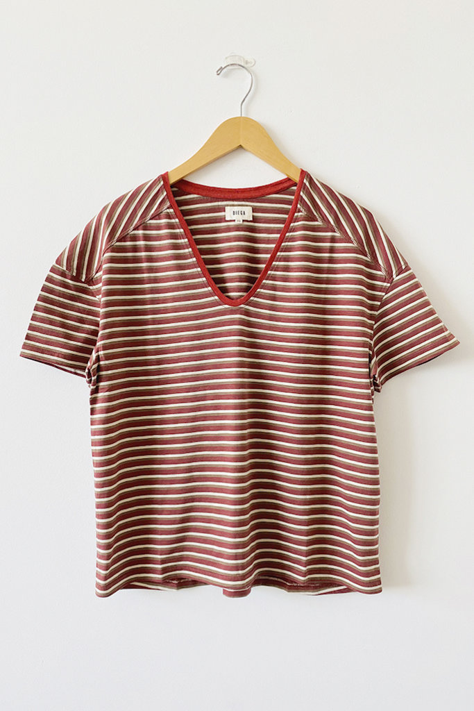 Diega Diega 5806 Trusto Striped V Neck Tee