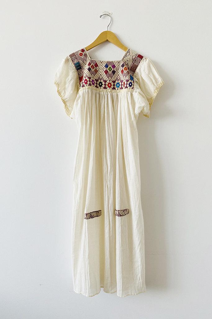 Luz Collection Luz Collection Cotton Dress With Brocade Bib