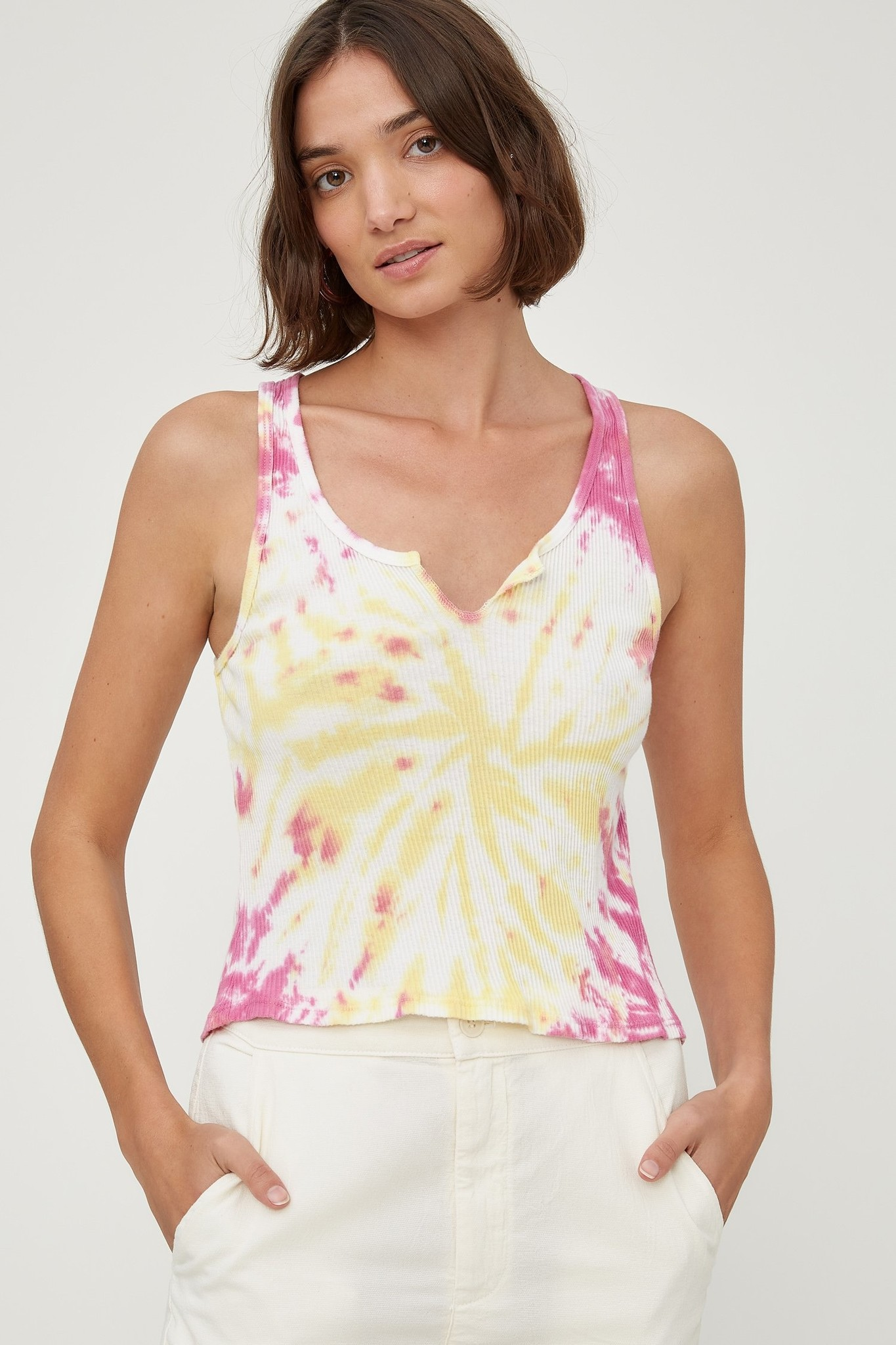 lacausa Lacausa Roxy Pink and Yellow Tie Dye Tank