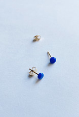 Verre Modern Small Square Studs - 14k Gold and Glass