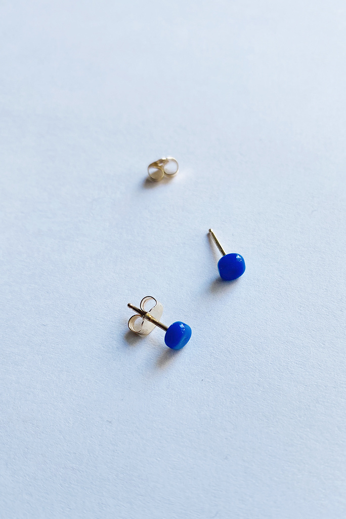Small Square Studs - 14k Gold and Glass