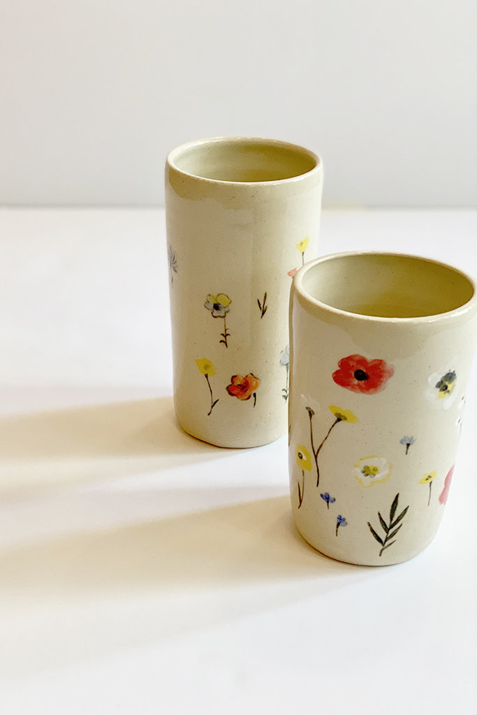 Alice Cheng Studio Ceramic Garden Painted Vases