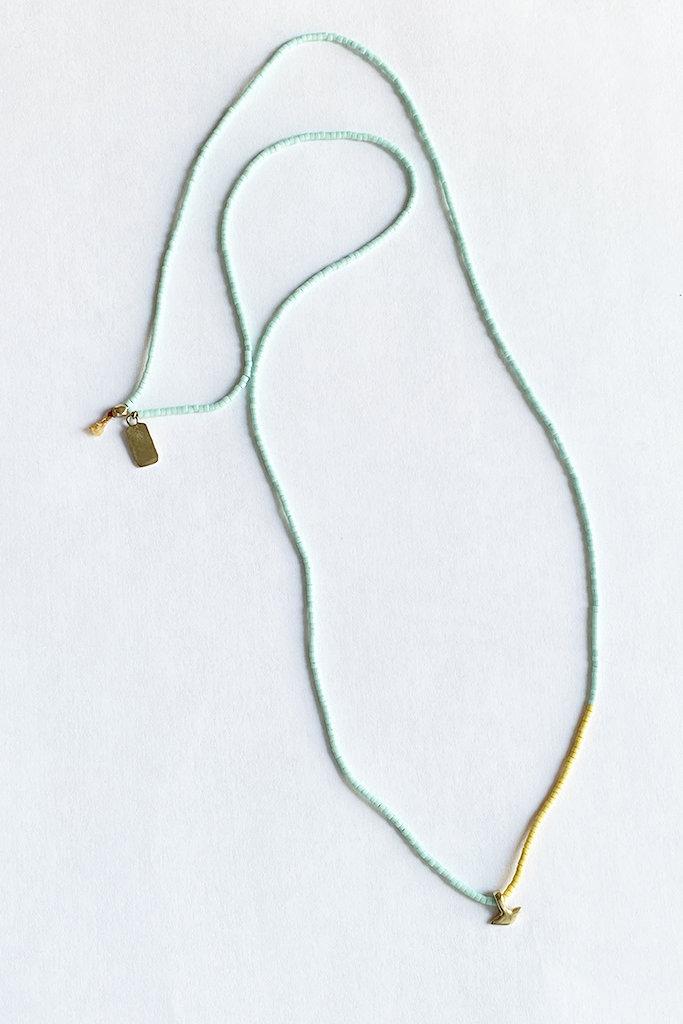 Satomi Studio Petite Anchor Necklace / Brass, Glass Beads
