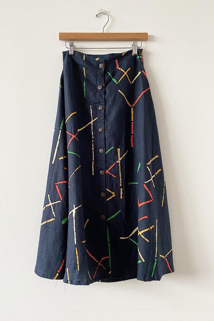 Bel Kazan Bel Kazan Skirt in Navy Stix Print S