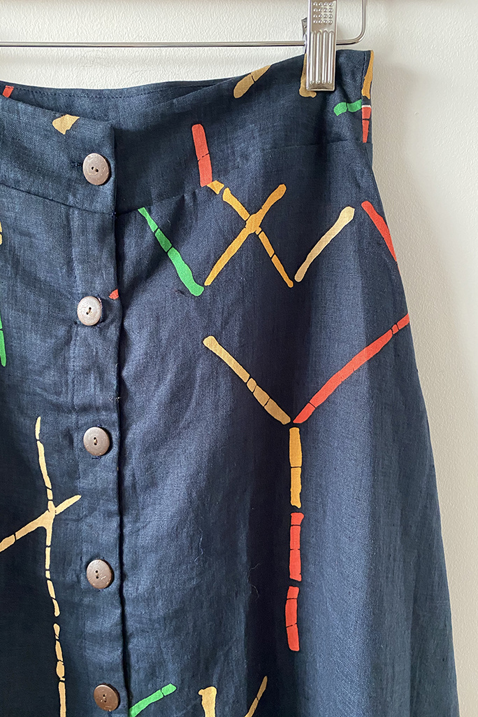 Bel Kazan Bel Kazan A-Line Button Skirt in Navy Stix Print