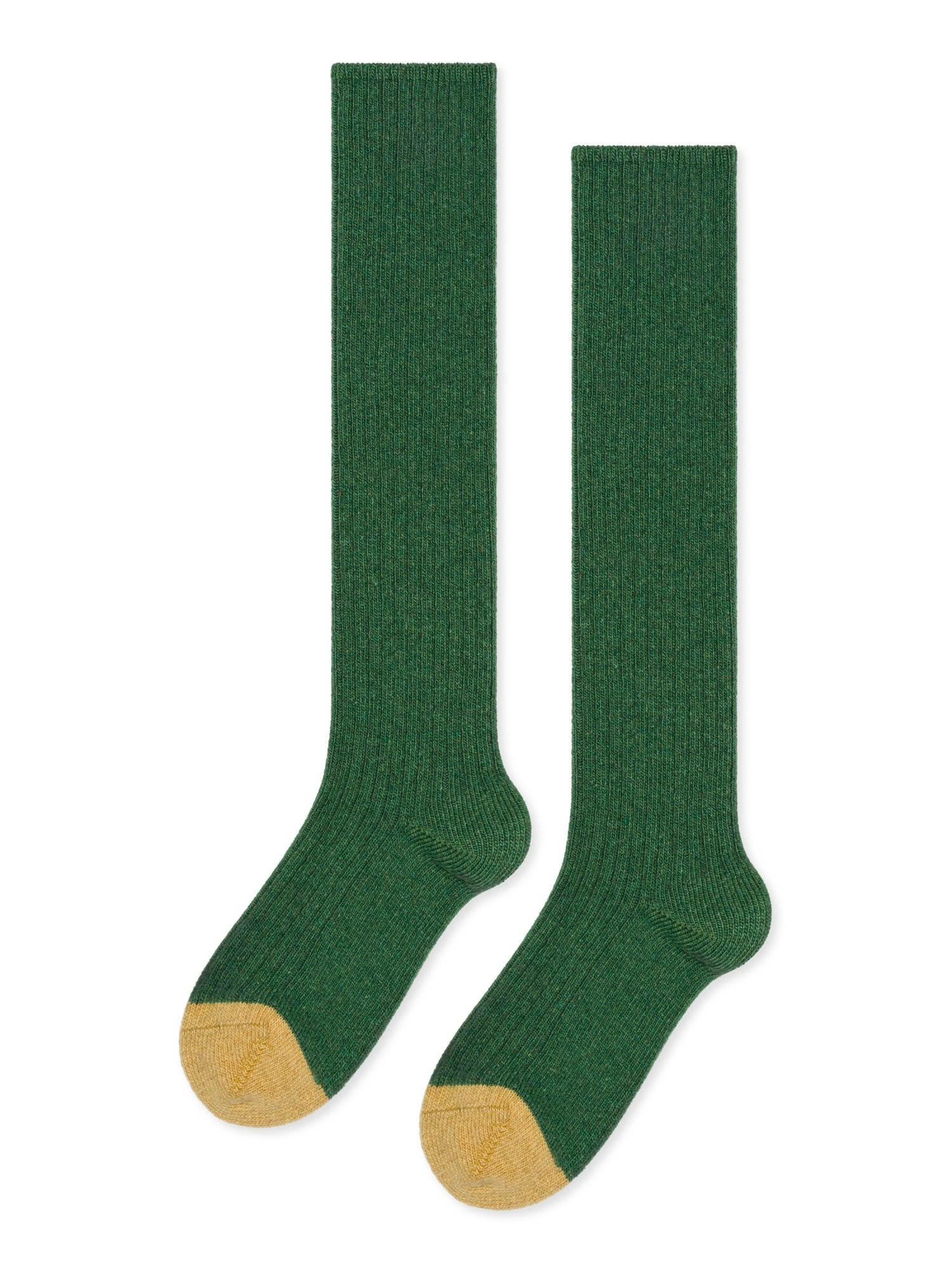 Hansel From Basel Hansel from Basel Skinny Rib Cashmere Knee Hi Sock in Kermit Green