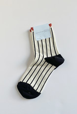 Hansel From Basel Hansel From Basel Tulip Top Short Crew Sock Black and White Stripe