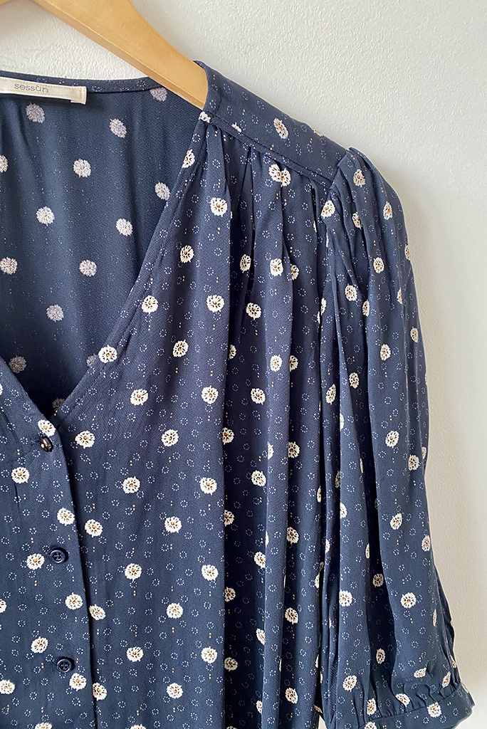 Sessun Eulalio Navy V Neck Printed Blouse