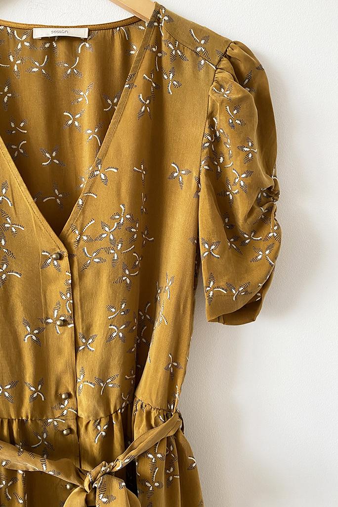 Sessun Roselili Long Belted Dress - M