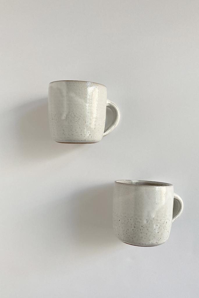 Alice Cheng Studio White Glazed Brown Stoneware Mugs