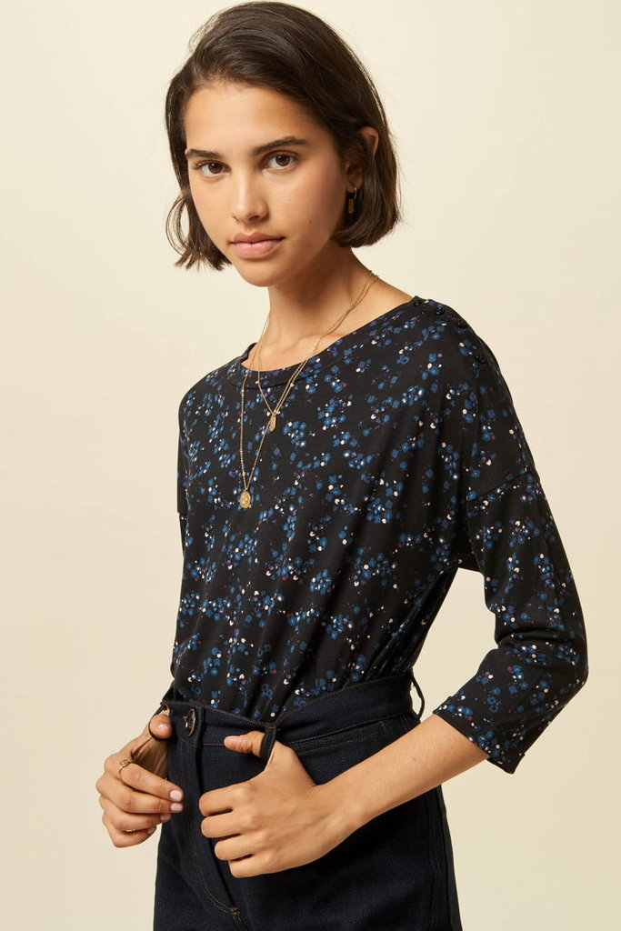 Sessun Devon Blue on Black Floral Tee