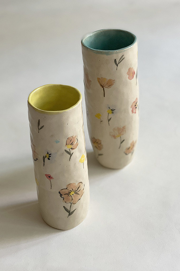 Alice Cheng Studio Tall Handbuilt Multi Floral Vase