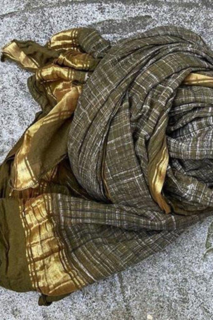 Auntie Oti Auntie Oti Handpainted Dupatta Wrap Olive