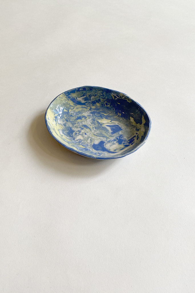 Alice Cheng Studio Blue & Yellow Marble Dishes