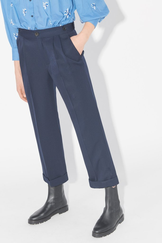 masscob Benton Tailored Wool Pants in Navy Blue
