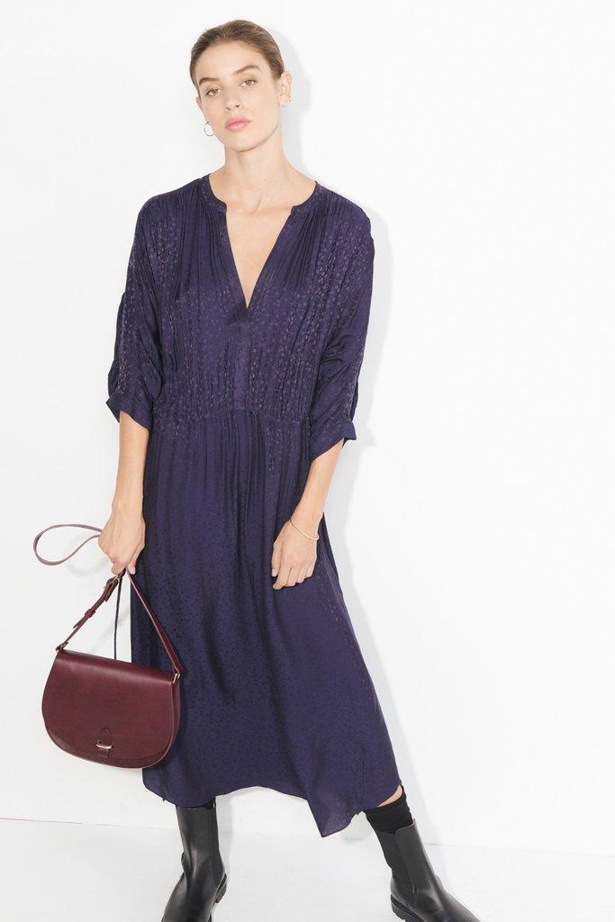 masscob Linn Navy Silk Blend Floaty Dress - Size Small