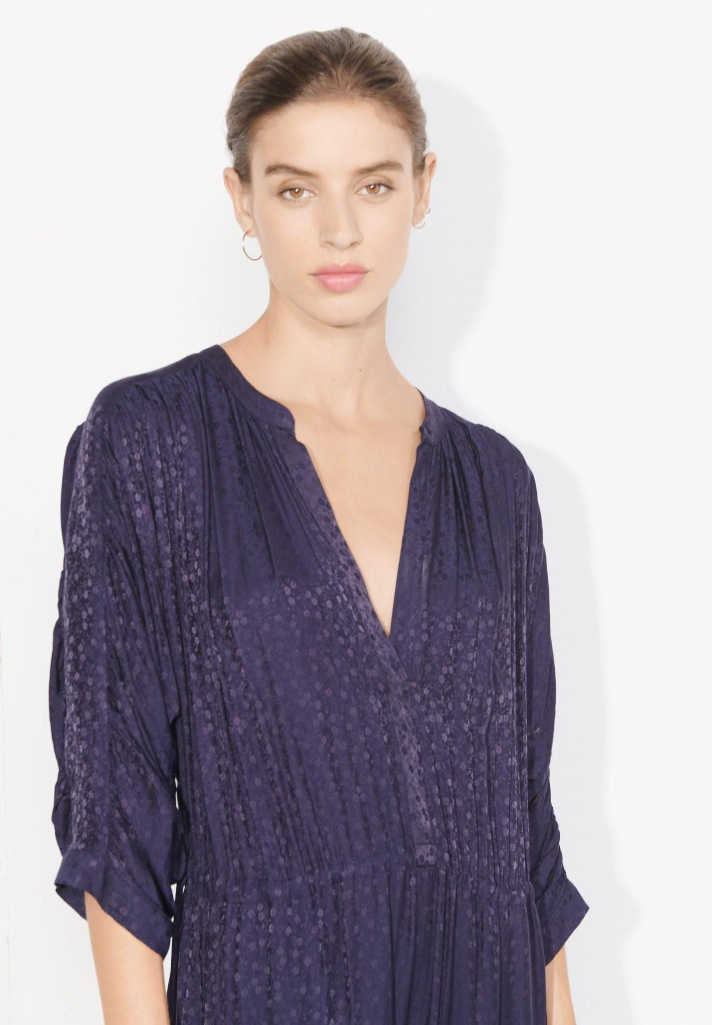 masscob Linn Navy Silk Blend Floaty Dress- Size Small