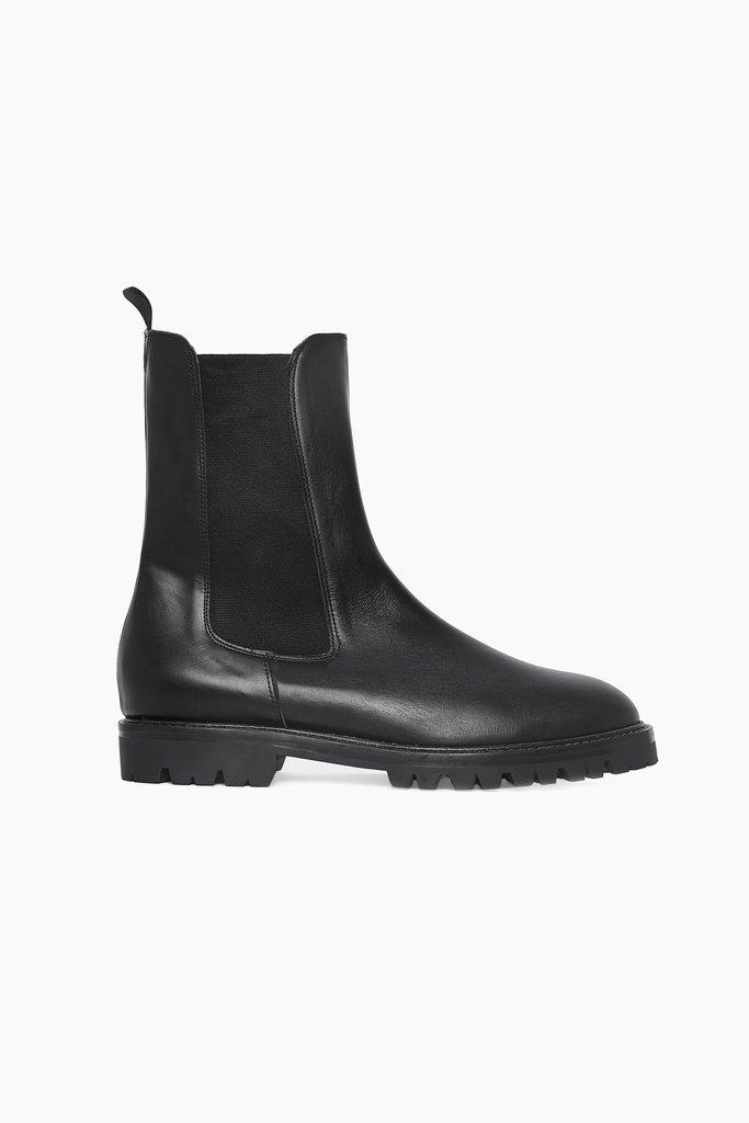 masscob Herman Black Leather Chelsea Boots - Size 40