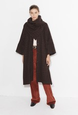 masscob Grette Oversized Houndstooth Coat with Built-In Scarf