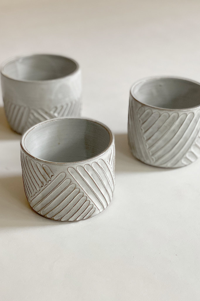 Alice Cheng Studio Medium White Carved  Planters