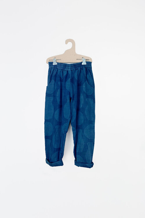 Deck Pants in Blue Printed Cotton