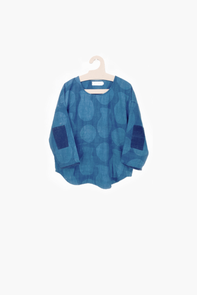 Every Day Top in Blue Printed Cotton