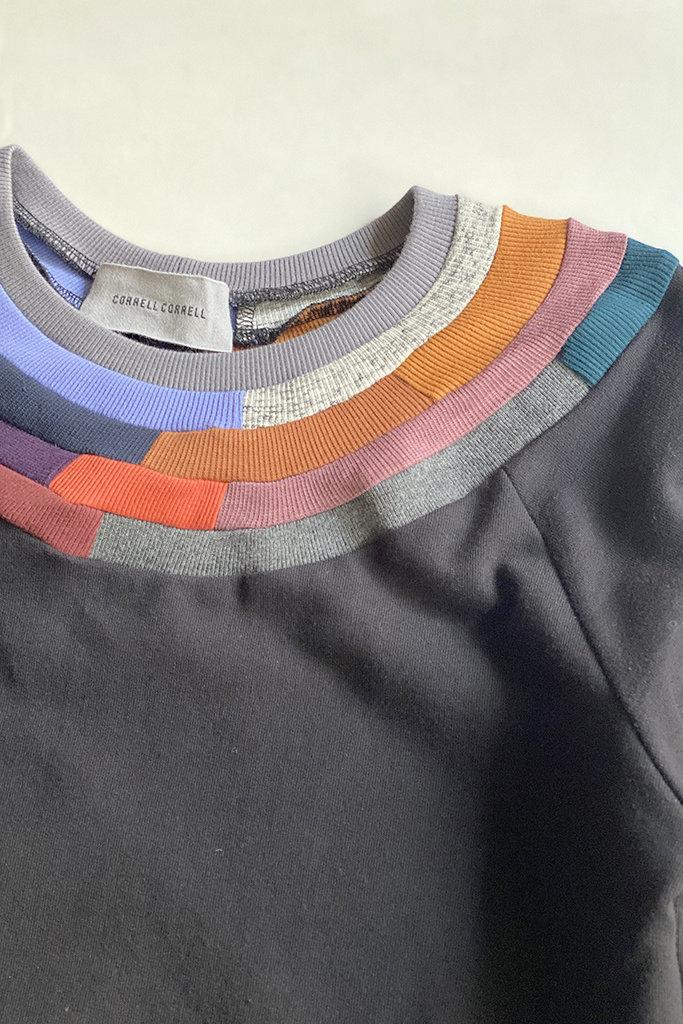 Correll Correll Mosaic Collar Raglan Cotton Sweatshirt  M
