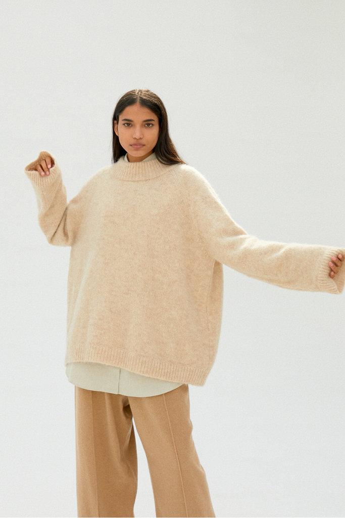 Monica Cordera Chunky Soft Alpaca Sweater OS Beige