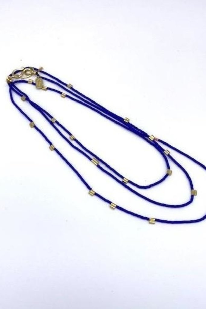 Satomi Studio Starry Night Cobalt and Brass Beaded Necklace