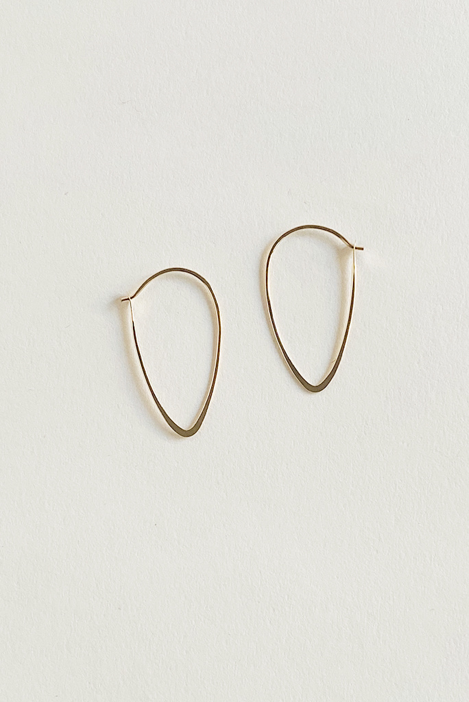 Melissa Joy Manning 14k gold leaf tear drop  hoops SLG