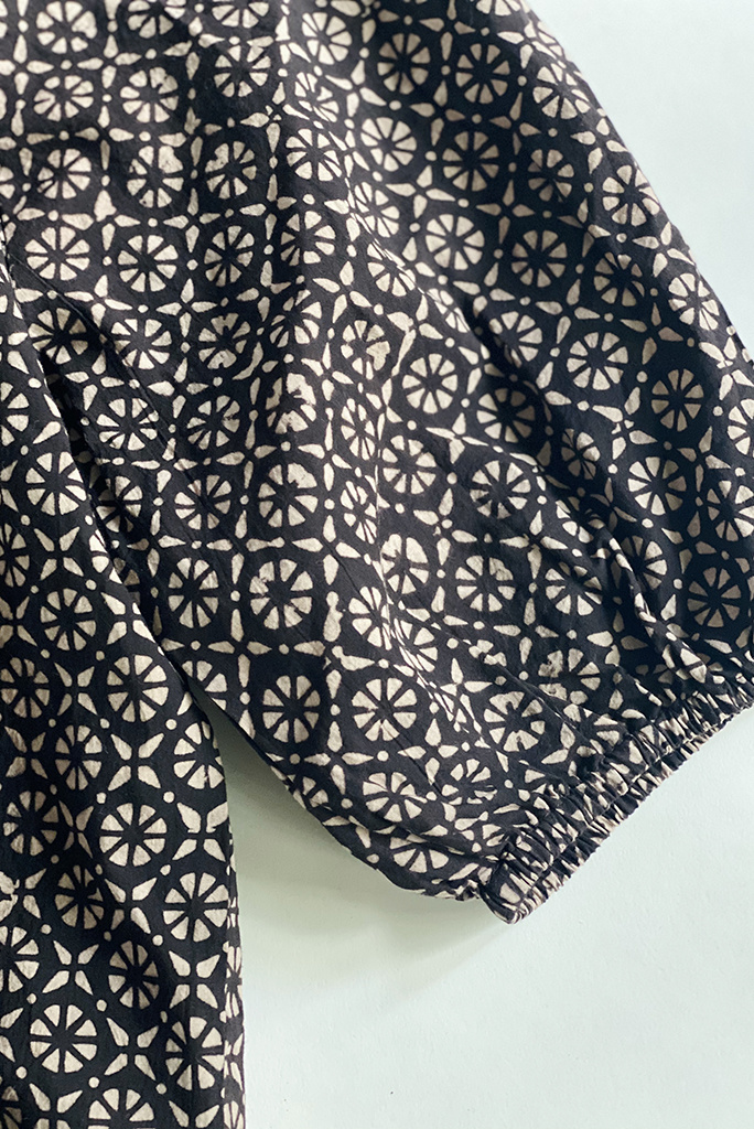 Nymane SS Hilma Geometric Print Peasant Top