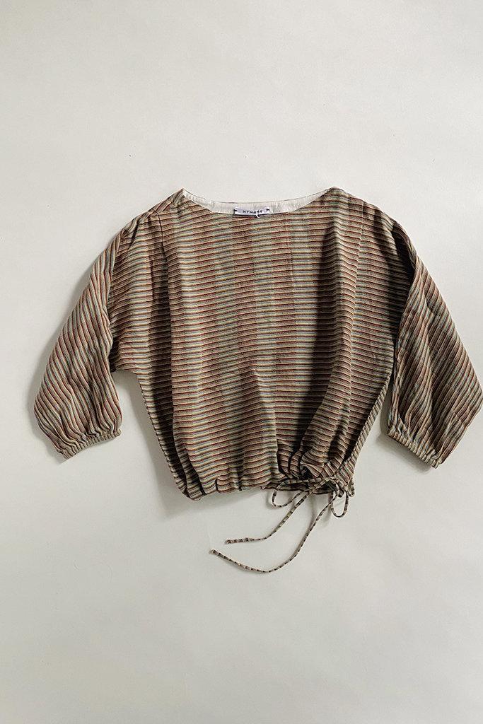 Nymane Sollen Tonal Woven Stripe Cotton Top - Size XS