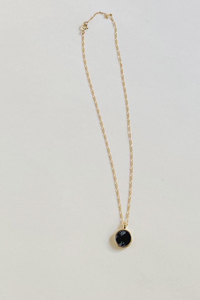 Sarah Safavi Jewelry Snowflake Obsidian Round Token Stone Necklace