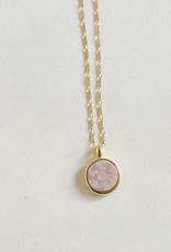 Sarah Safavi Jewelry Rhodonite Round Token Stone Necklace