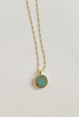 Sarah Safavi Jewelry Blue-Green Turquoise Round Token Stone Necklace
