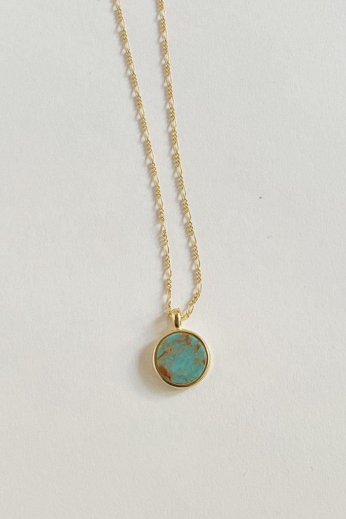Sarah Safavi Jewelry Blue-Green Turquoise Round Token Stone Necklace