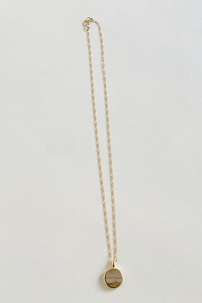 Sarah Safavi Jewelry Picture Jasper Round Token Stone Necklace
