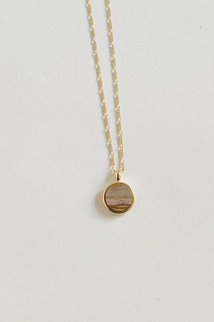 Sarah Safavi Jewelry Picture Jasper Round Token Stone Necklace