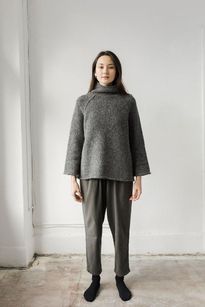 Bare Knitwear Funnel Neck Chunky Knit Sweater in Charcoal