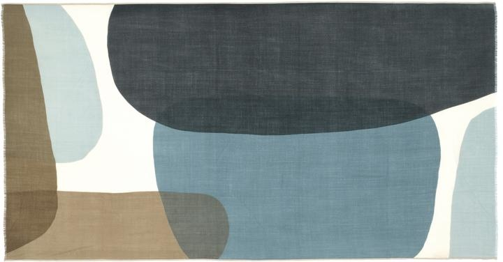Mois Mont 45602 Wide Wool Scarf Japan Blue