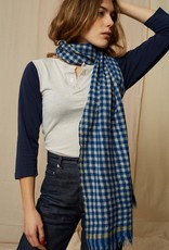 Mois Mont 46903 Checked Wool Scarf Japan Blue