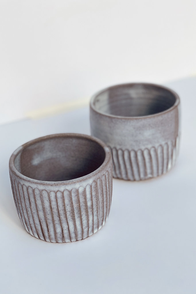 Alice Cheng Studio carved small milky ceramic planter