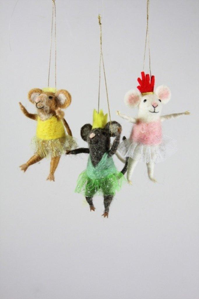 Felt Ballerina Mice Ornament - Multiple Colors