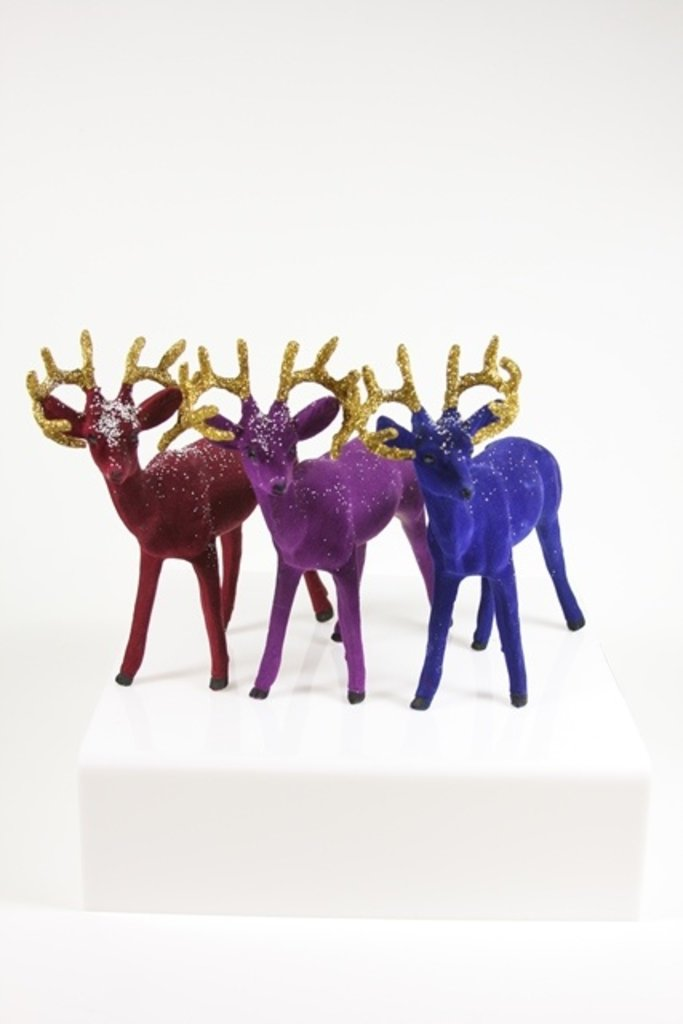 Flocked Deer With Gold Antlers - Multiple Colors